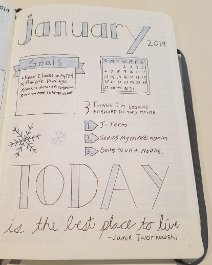 Bullet journal page spread for the month of January