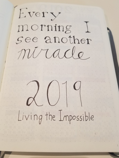 """Bullet Journal with the words """"Every morning I see another miracle - 2019: Living the Impossible."""""""