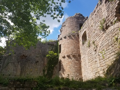 what's left of a few walls of an old castle