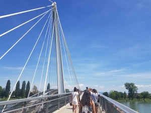 people crossing a bridge over a river