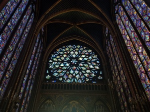 circular stained glass window in Sainte Chapelle in Paris