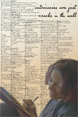 poster for the film intricacies are just cracks in the wall, showing a young woman writing while surrounded by words