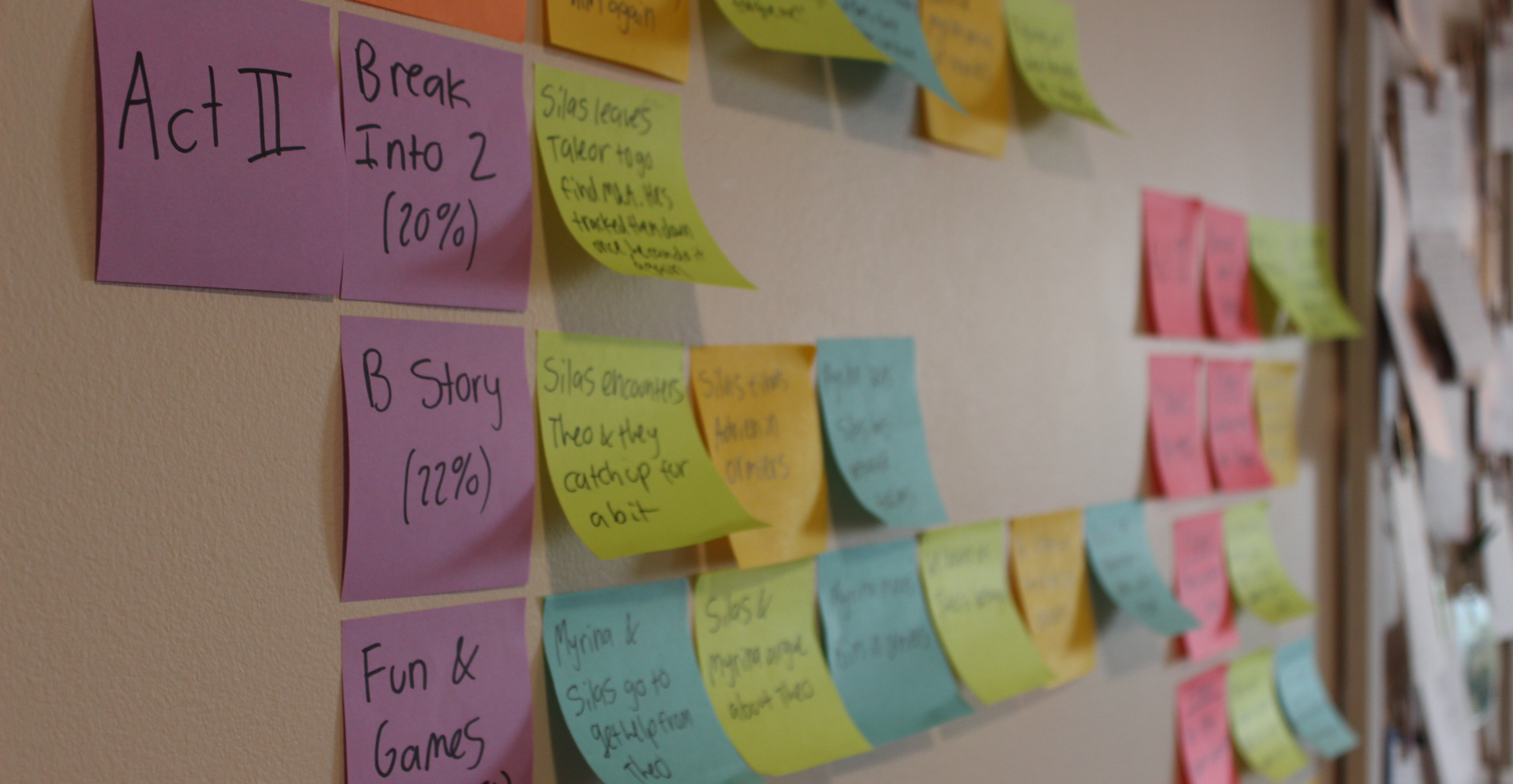 """Colorful post-it notes stuck to a wall. They are being used to plot out a novel and say things like """"Act II"""" and """"B Story"""""""
